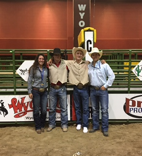Rebecca as an intern, with her college coach and the two 2017 College National Finals Rodeo contestants from Mesalands Community College